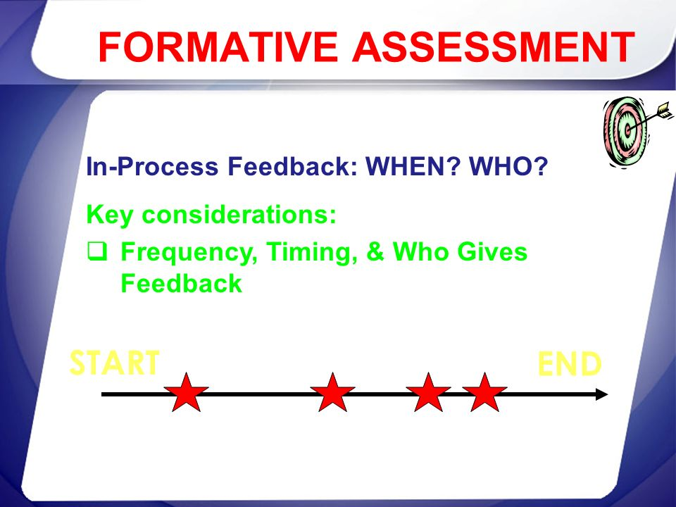 FORMATIVE ASSESSMENT START END In-Process Feedback: WHEN WHO