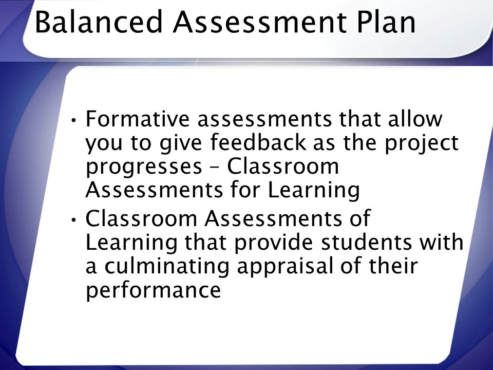 Balanced Assessment Plan