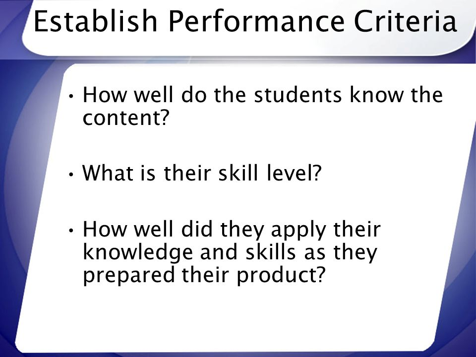 Establish Performance Criteria