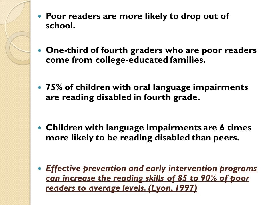 Poor readers are more likely to drop out of school.