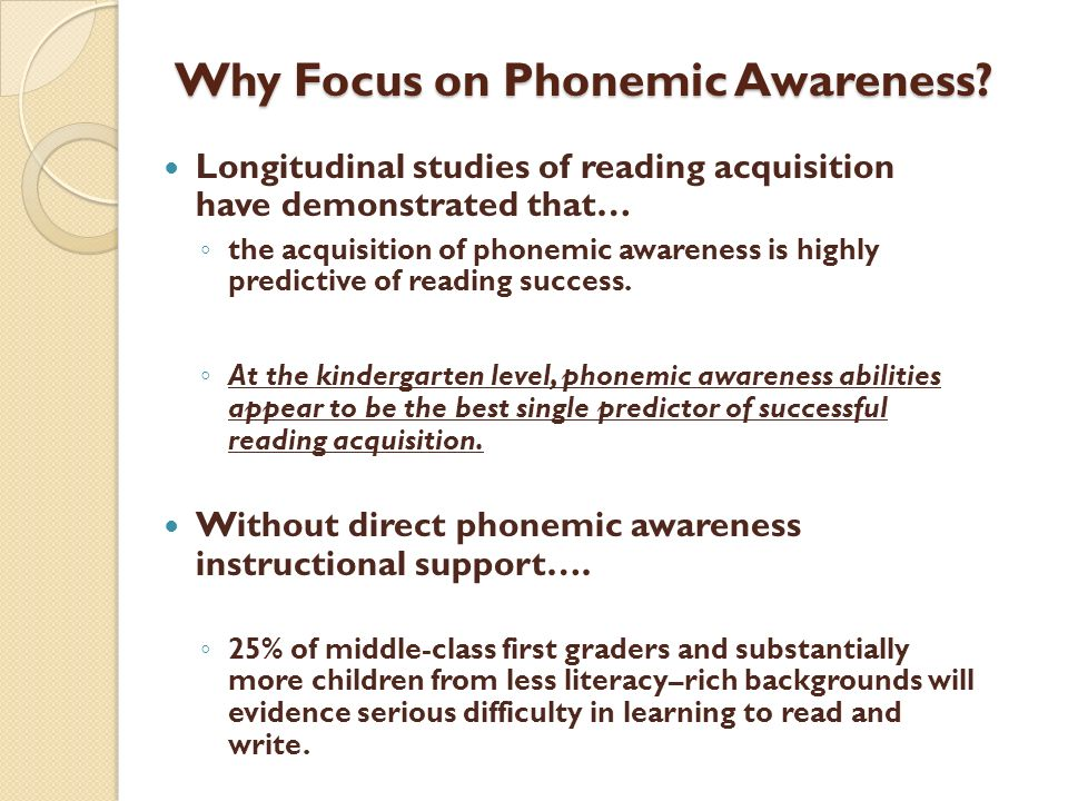 Why Focus on Phonemic Awareness