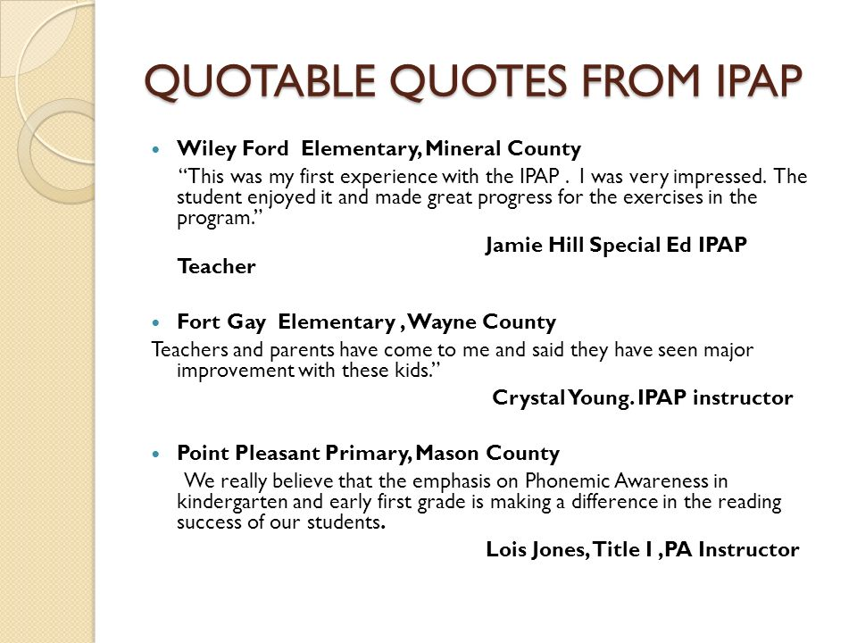 QUOTABLE QUOTES FROM IPAP