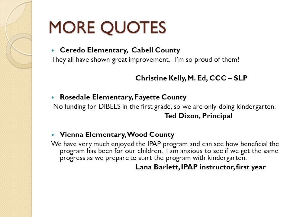 MORE QUOTES Ceredo Elementary, Cabell County