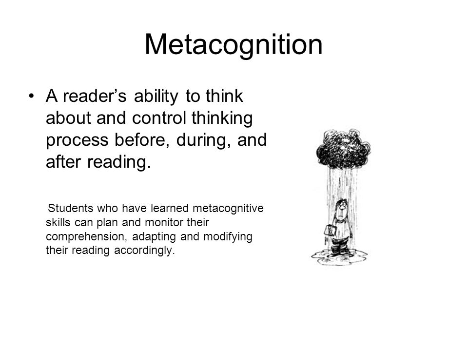 Metacognition A reader's ability to think about and control thinking process before, during, and after reading.