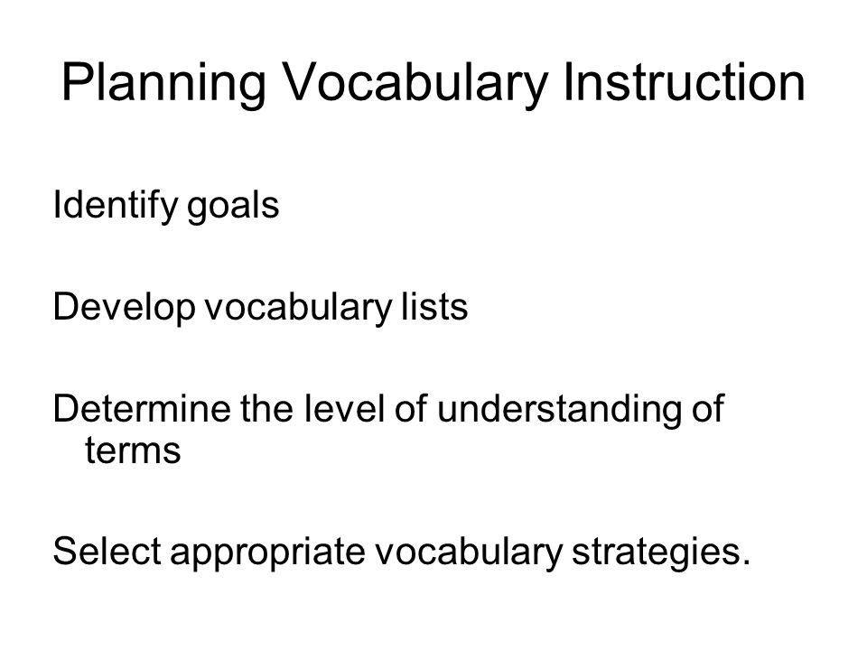 Planning Vocabulary Instruction