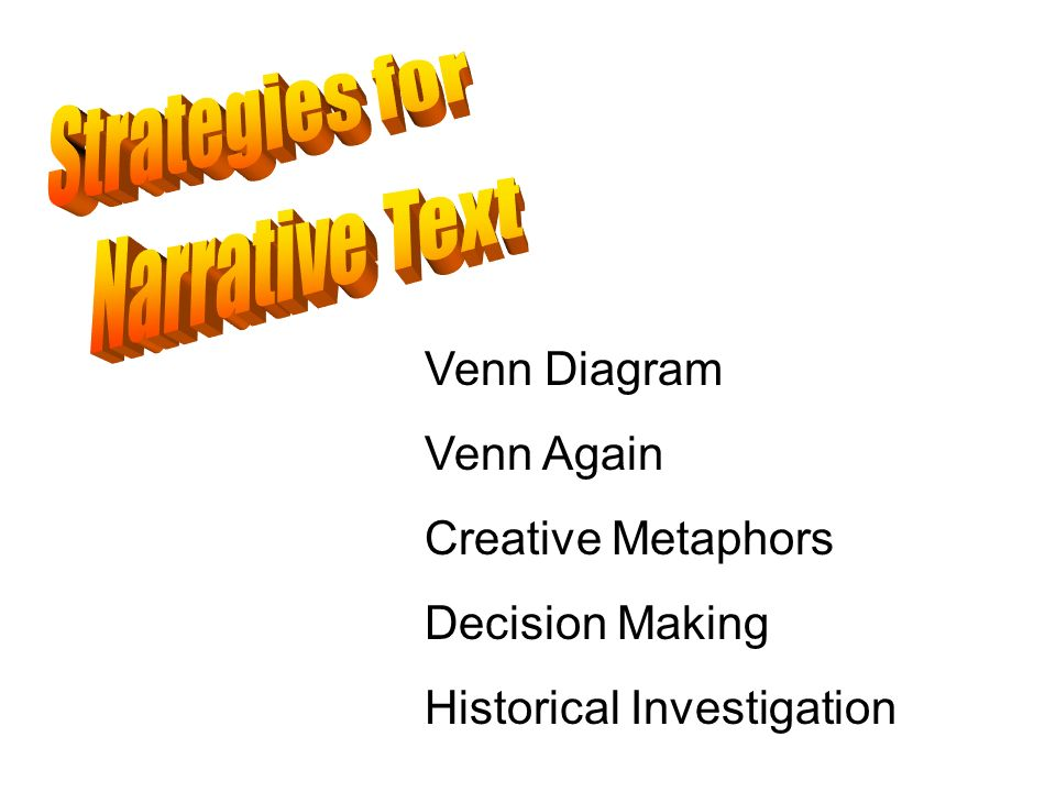 Strategies for Narrative Text Venn Diagram Venn Again