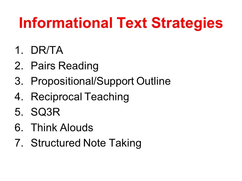 Informational Text Strategies