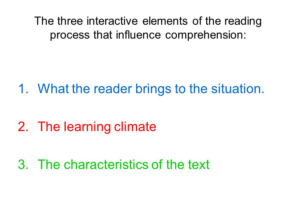 What the reader brings to the situation. The learning climate