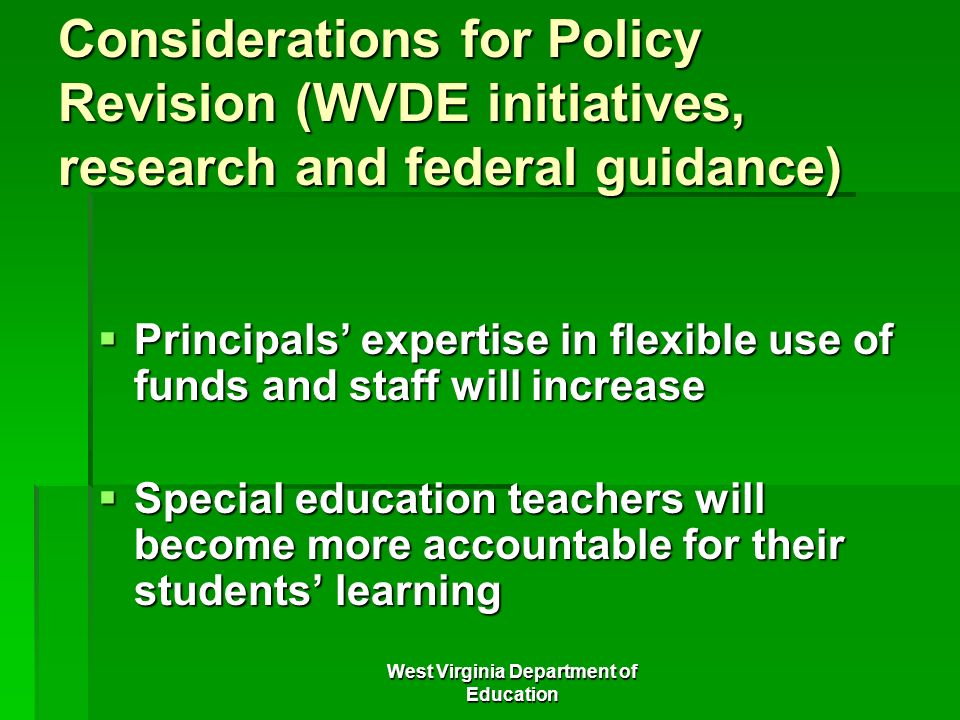 Special Education More Flexible >> West Virginia Department Of Education Ppt Download