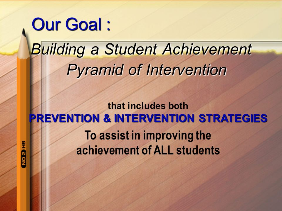 Our Goal : Building a Student Achievement Pyramid of Intervention