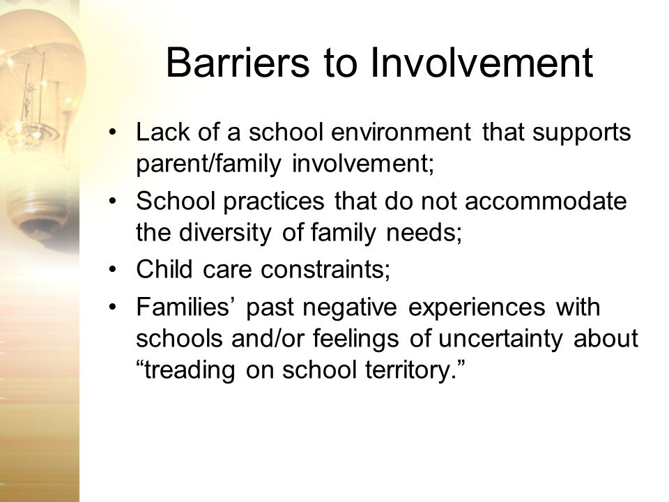 Barriers to Involvement
