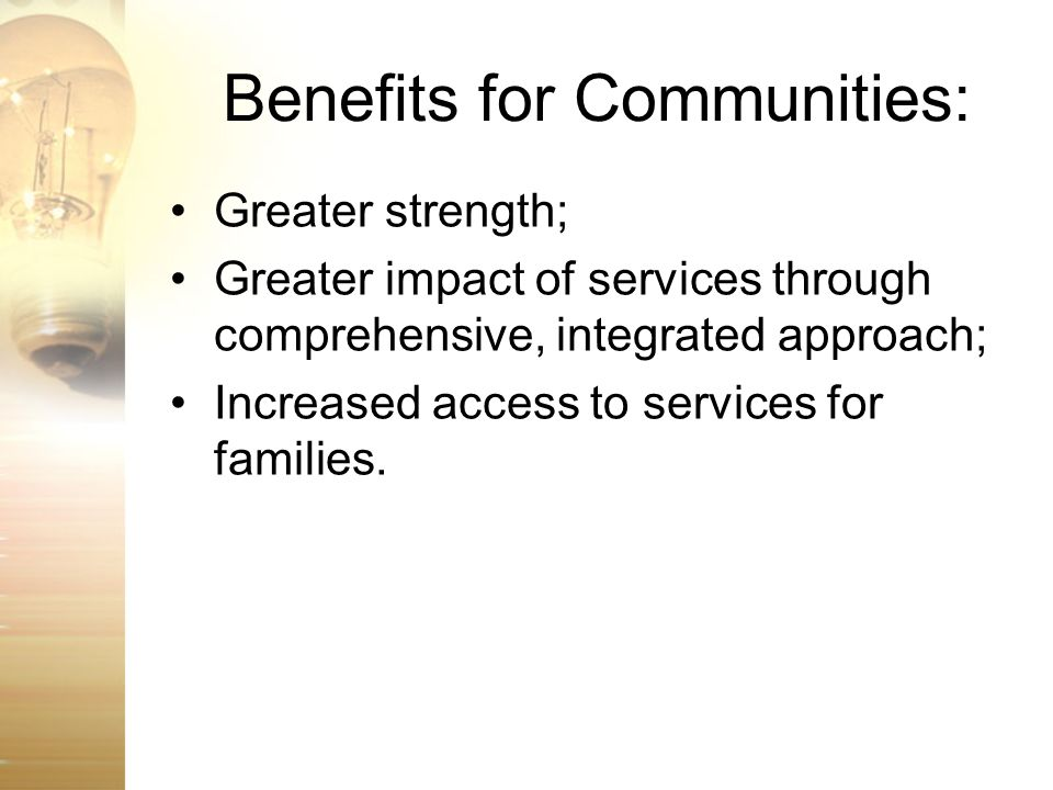 Benefits for Communities: