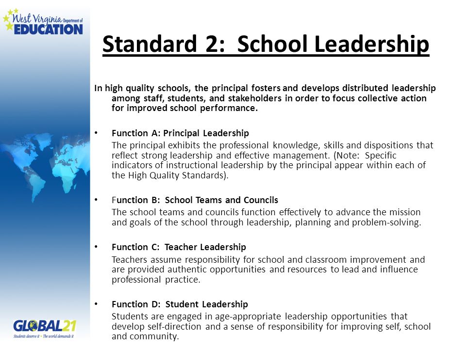 Standard 2: School Leadership