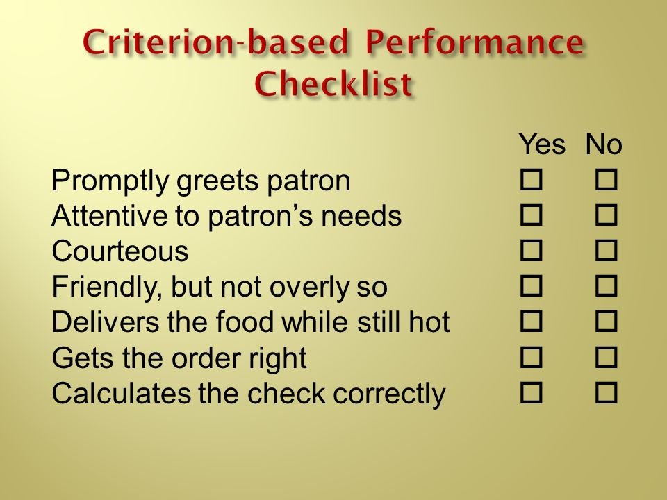 Criterion-based Performance Checklist