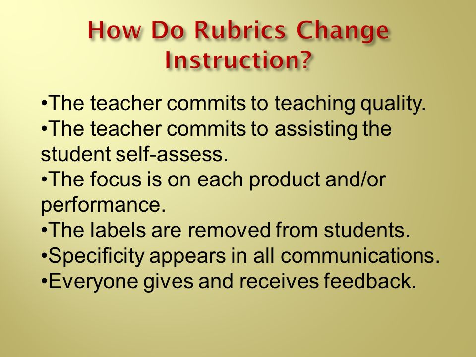 How Do Rubrics Change Instruction