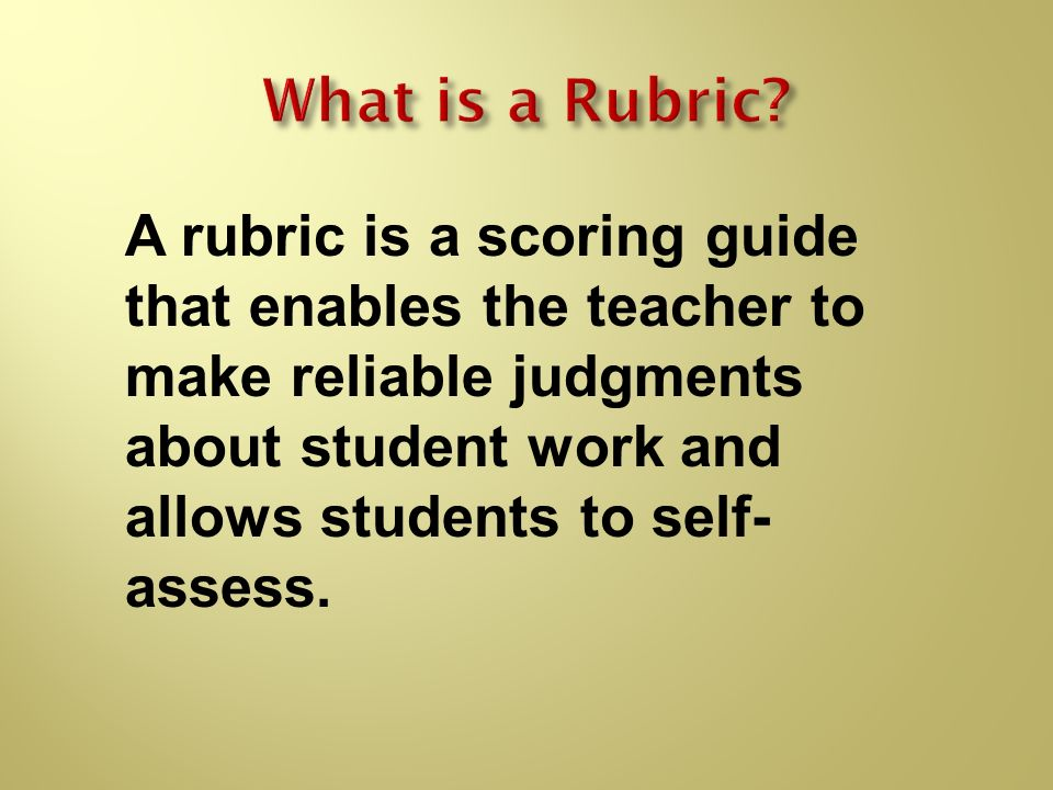 What is a Rubric