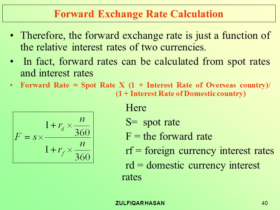 Forward Exchange Rate Calculation