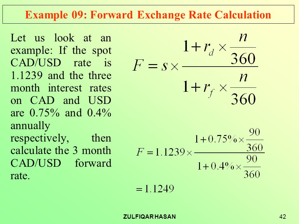 Example 09 Forward Exchange Rate Calculation