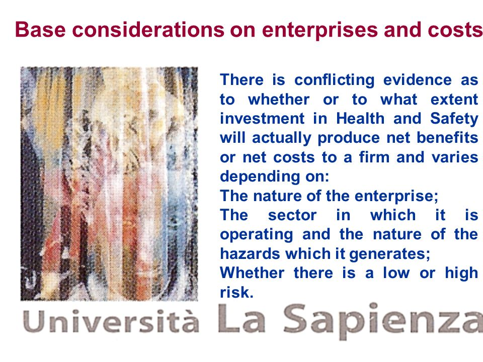 Base considerations on enterprises and costs