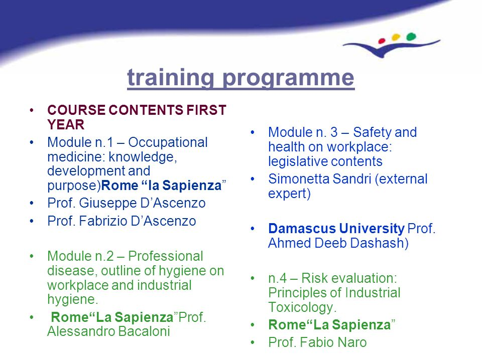 training programme COURSE CONTENTS FIRST YEAR