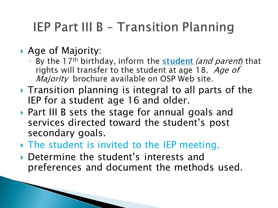 IEP Part III B – Transition Planning