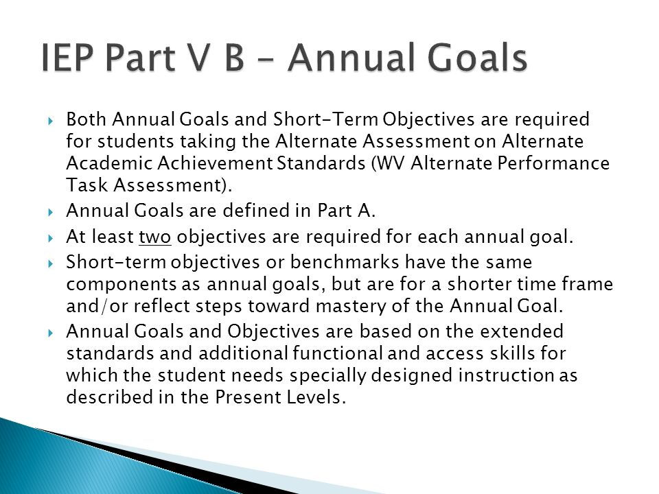 IEP Part V B – Annual Goals