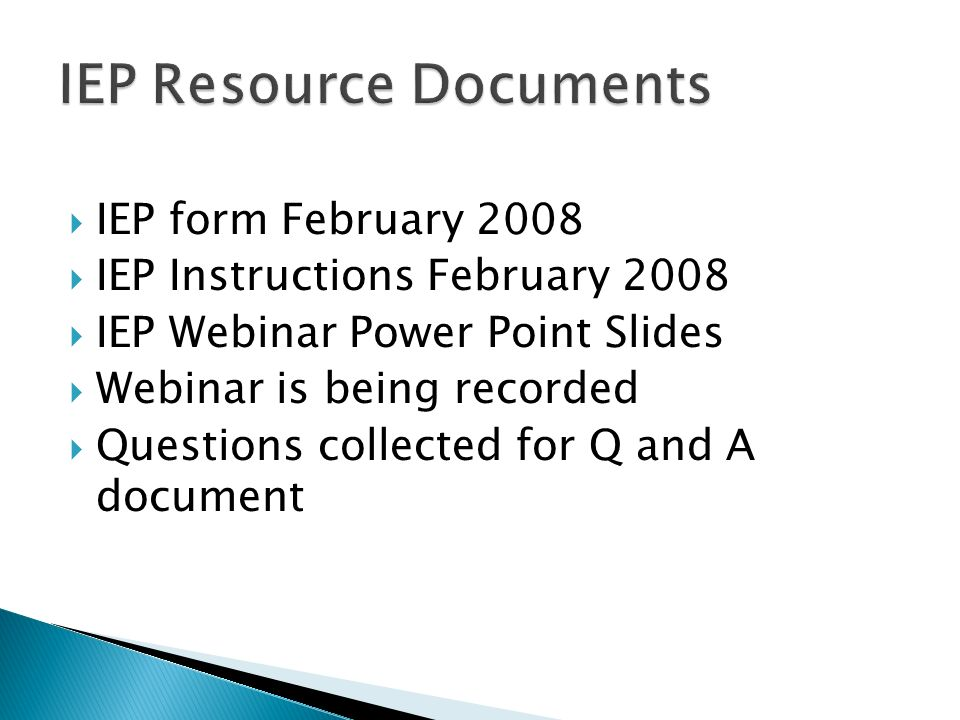IEP Resource Documents