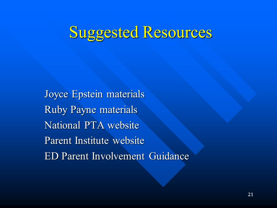 Suggested Resources Joyce Epstein materials Ruby Payne materials