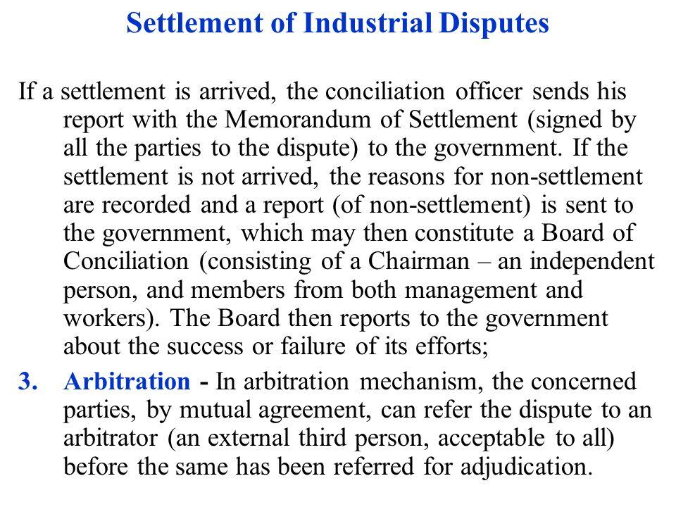 settlement of industrial disputes pdf