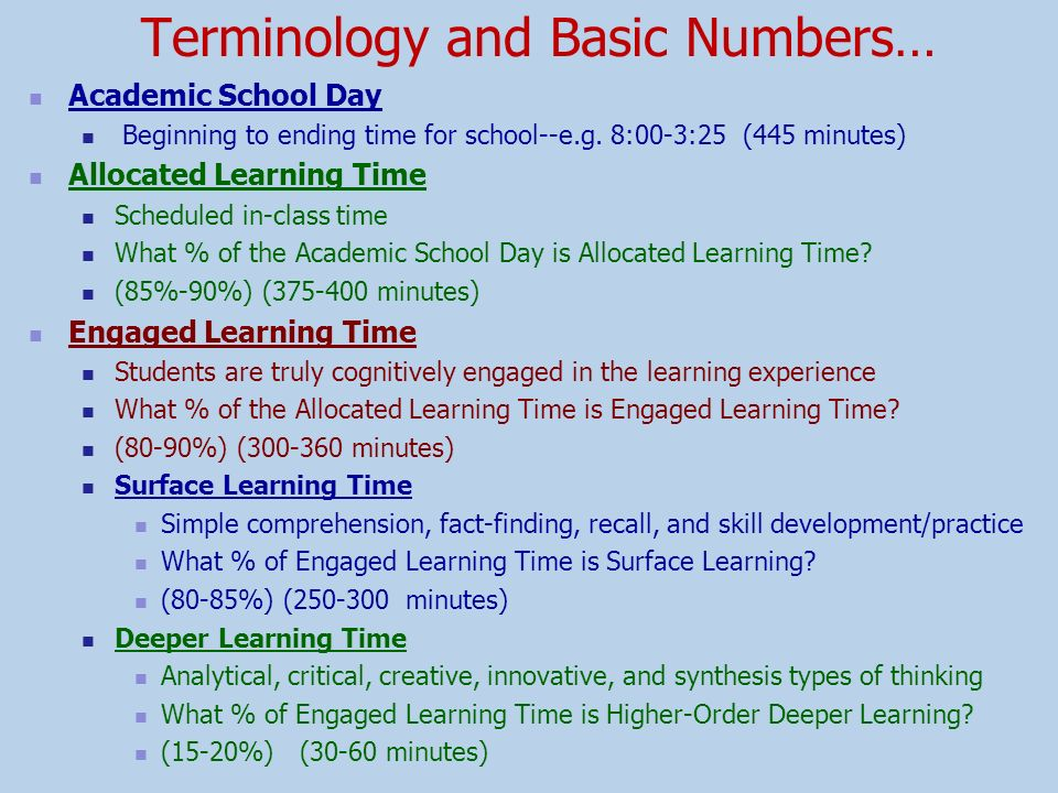 Terminology and Basic Numbers…