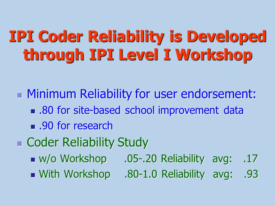 IPI Coder Reliability is Developed through IPI Level I Workshop