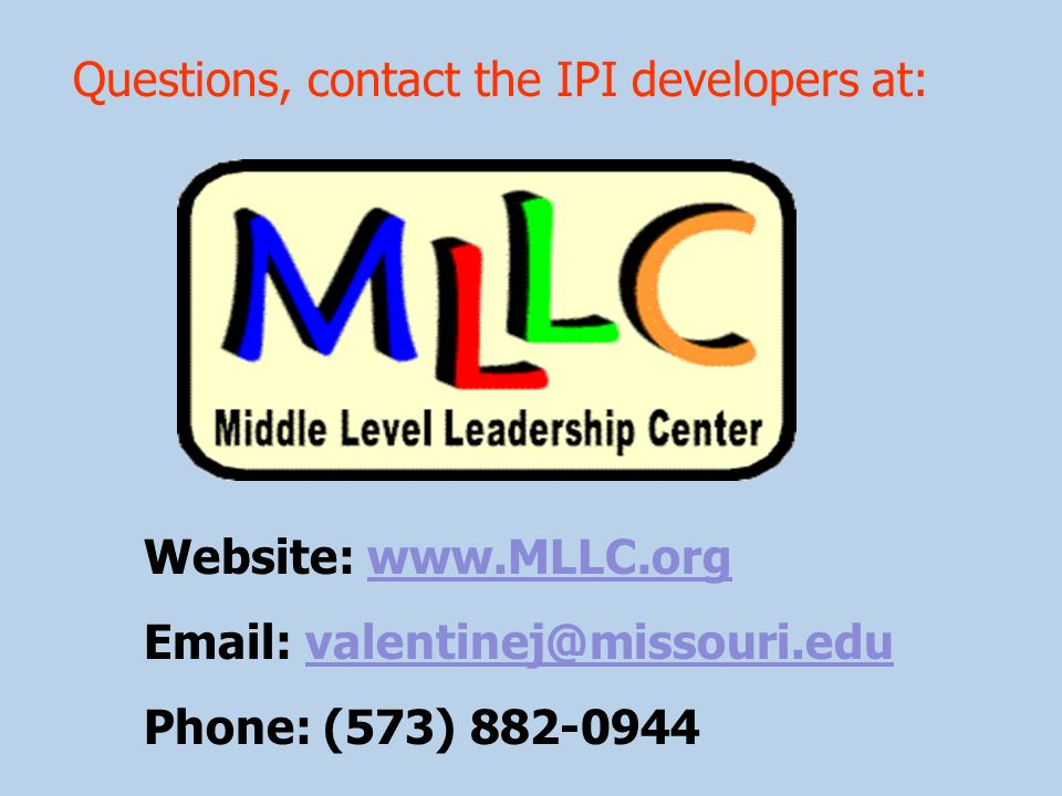 Questions, contact the IPI developers at: