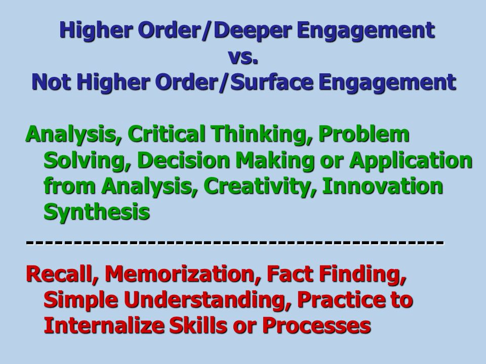 Higher Order/Deeper Engagement vs. Not Higher Order/Surface Engagement
