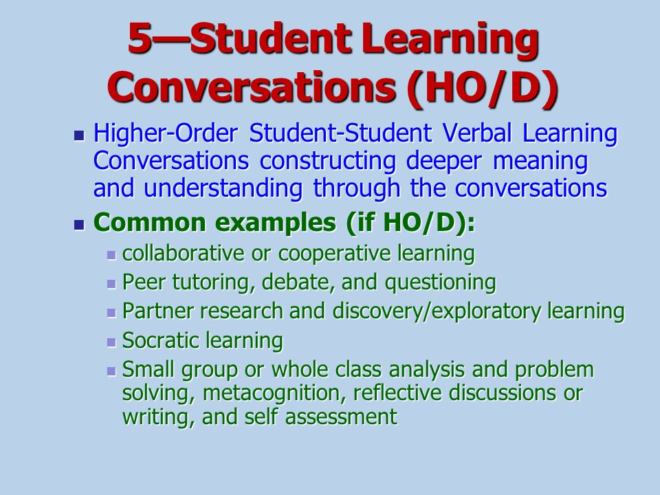 5—Student Learning Conversations (HO/D)