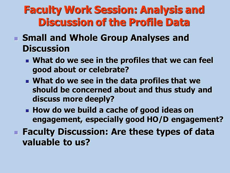 Faculty Work Session: Analysis and Discussion of the Profile Data