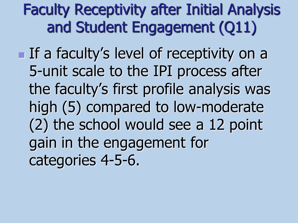 Faculty Receptivity after Initial Analysis and Student Engagement (Q11)