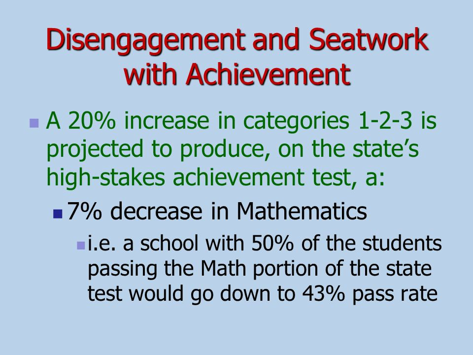 Disengagement and Seatwork with Achievement