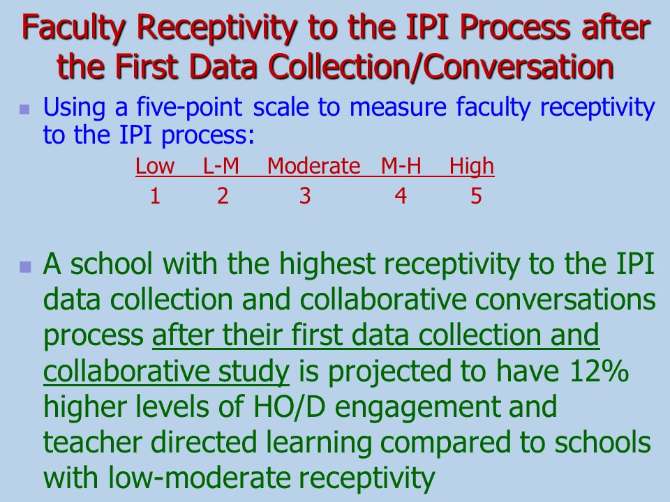 Faculty Receptivity to the IPI Process after the First Data Collection/Conversation