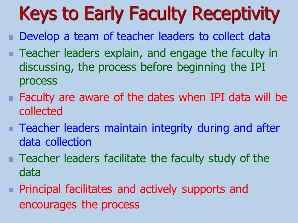Keys to Early Faculty Receptivity