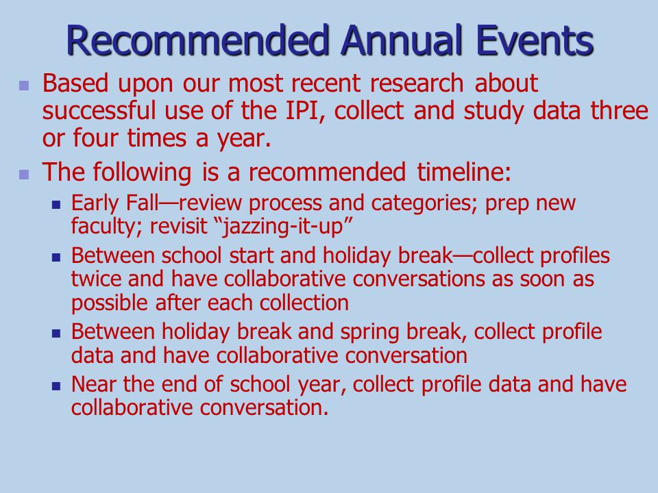 Recommended Annual Events