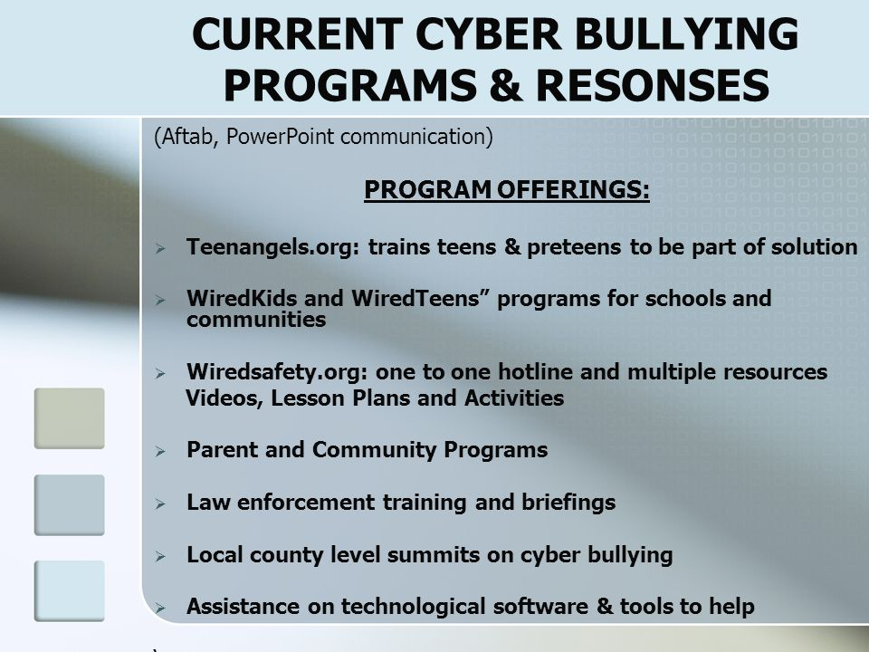 CURRENT CYBER BULLYING PROGRAMS & RESONSES
