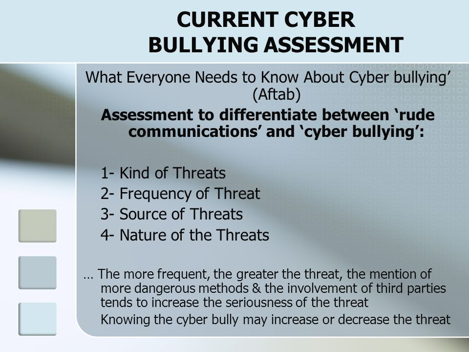 CURRENT CYBER BULLYING ASSESSMENT