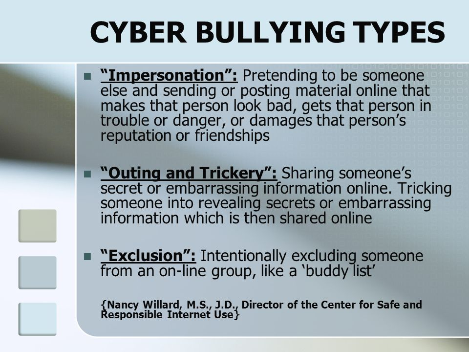 CYBER BULLYING TYPES