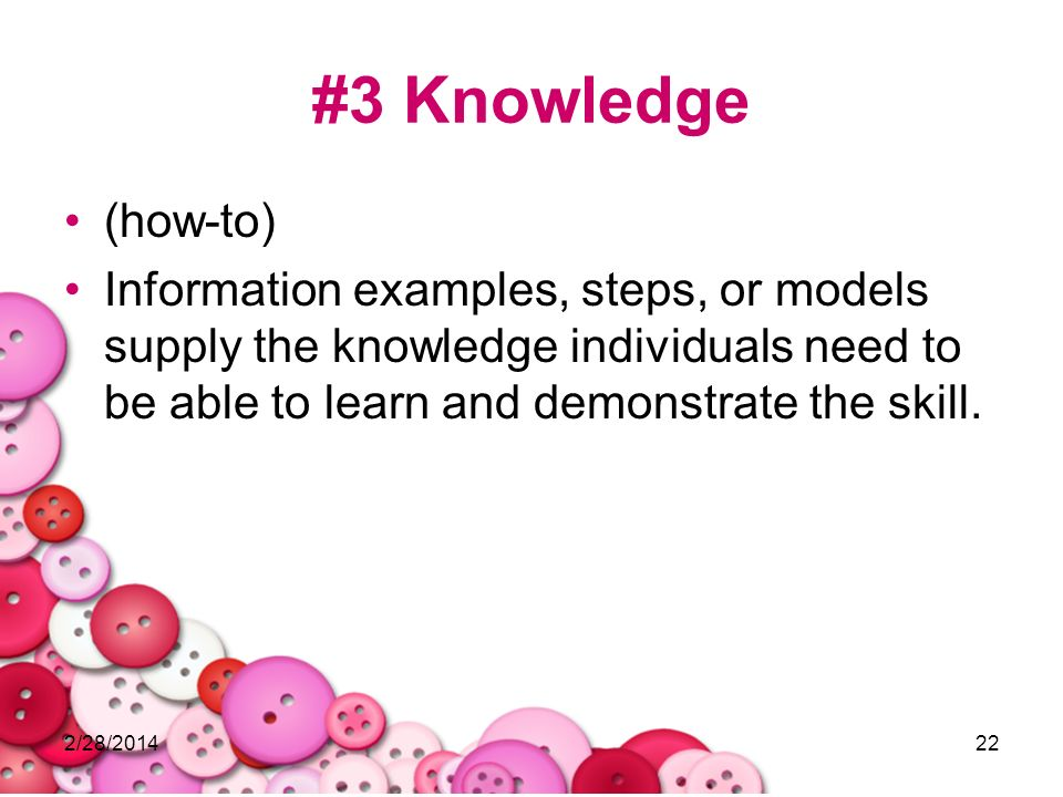 #3 Knowledge (how-to) Information examples, steps, or models supply the knowledge individuals need to be able to learn and demonstrate the skill.