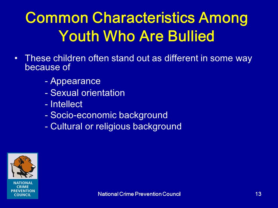Common Characteristics Among Youth Who Are Bullied