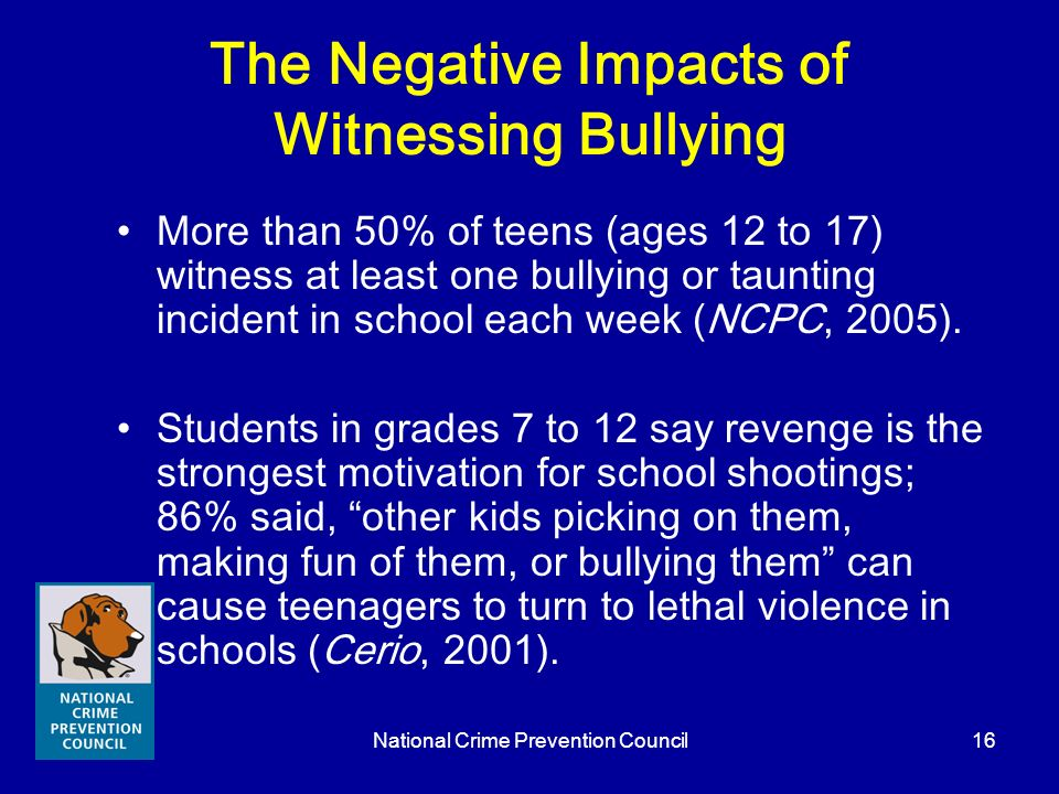 The Negative Impacts of Witnessing Bullying