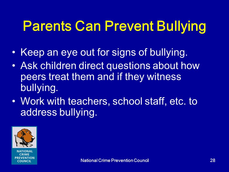 Parents Can Prevent Bullying