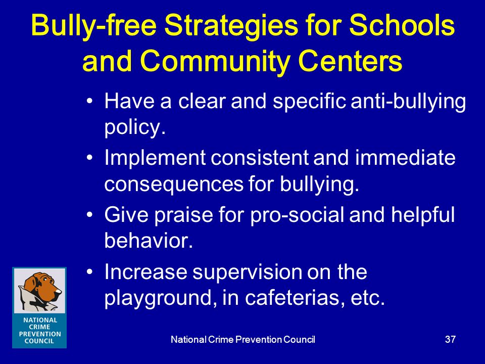 Bully-free Strategies for Schools and Community Centers