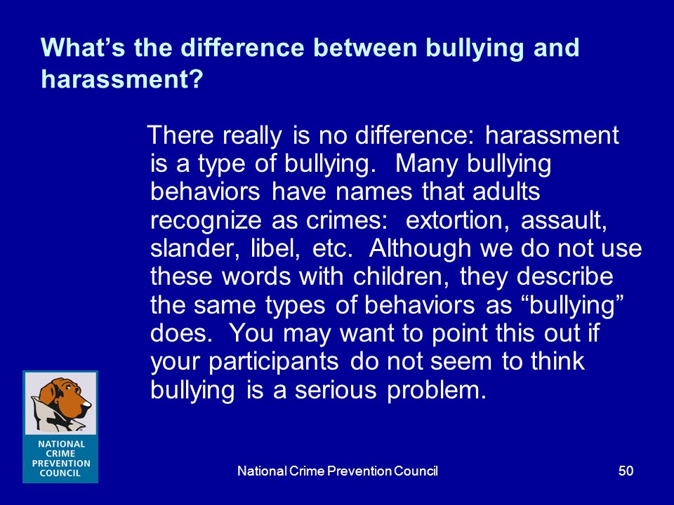 What's the difference between bullying and harassment