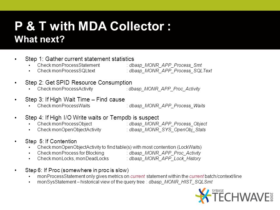 Practical use of mda tables ppt download p t with mda collector what next ccuart Choice Image